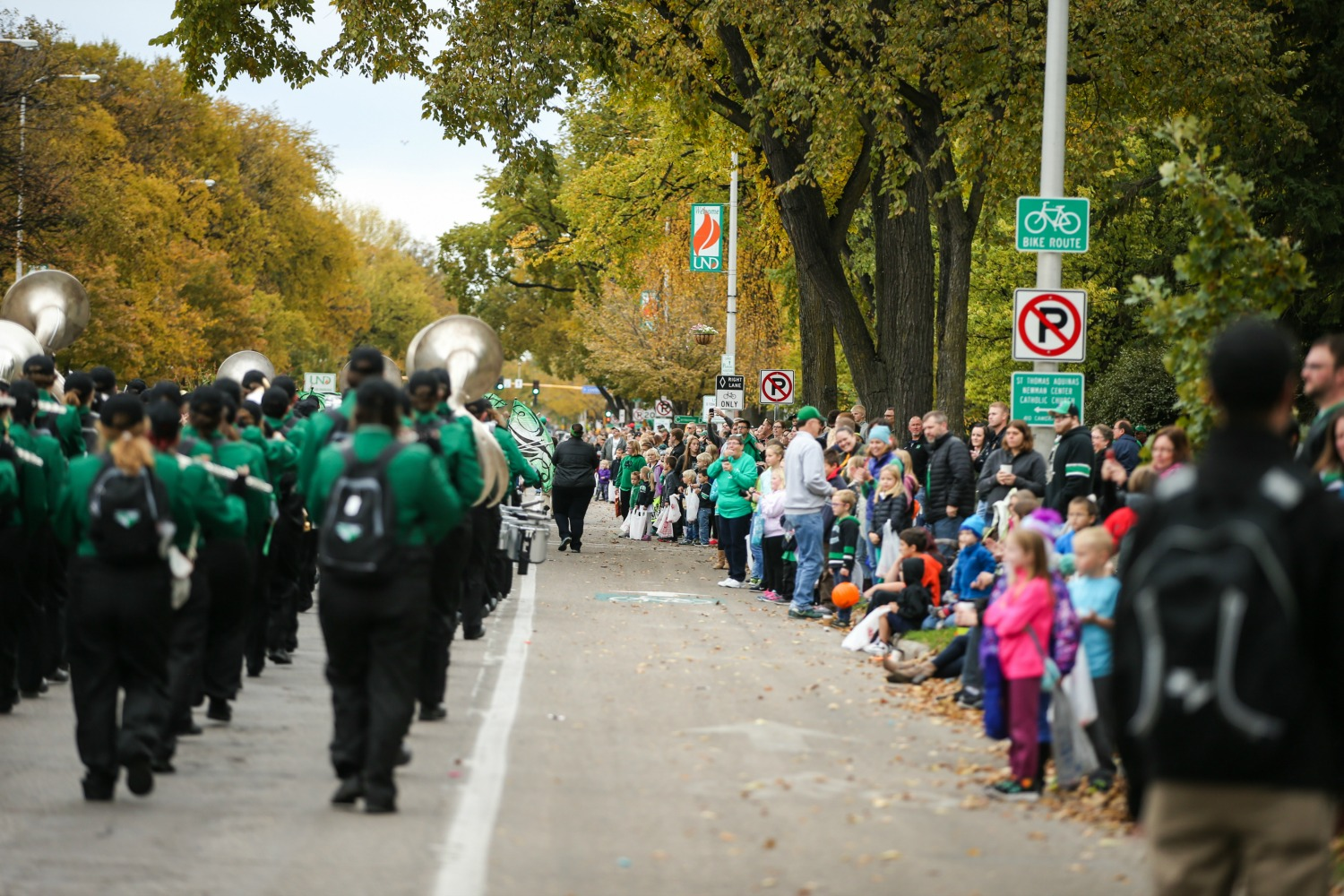 The Pride of the North band marches in the Homecoming Parade.